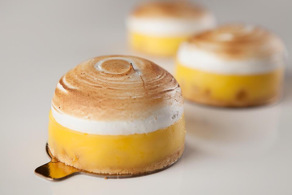 Tartelette au citron, gingembre confit et meringue (individuelles)
